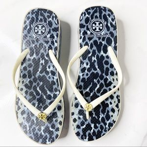 Tory Burch Cheetah Rubber Wedge Flip Flops Size 9